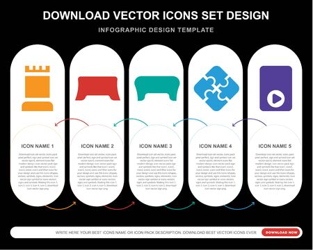 5 vector icons such as Tower, Gamepad, Jigsaw,  for infographic, layout, annual report, pixel perfect icon Illustration