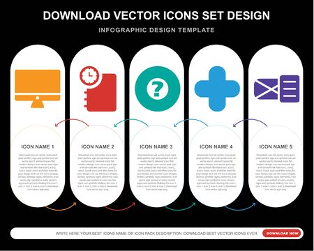 5 vector icons such as  Agenda, Help, aid, for infographic, layout, annual report, pixel perfect icon