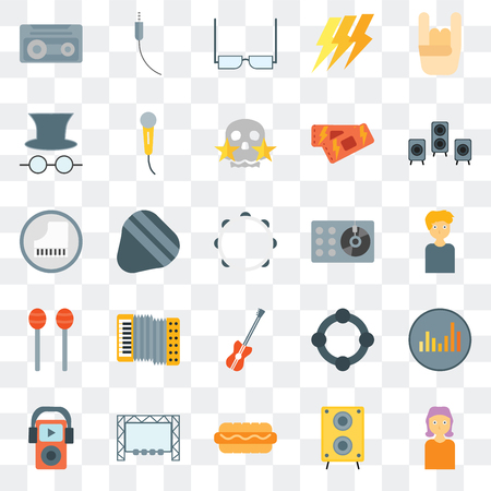 Set Of 25 transparent icons such as Woman, Speaker, Hot dog, Big screen, Mp3, Turntable, Bass guitar, Maracas, Hat and glasses, Eyeglasses, Audio jack, web UI transparency icon pack Illustration