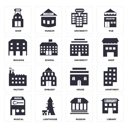 Set Of 16 icons such as Library, Museum, Lighthouse, Musical, Apartment, Shop, Building, Factory, University, web UI editable icon pack, pixel perfect
