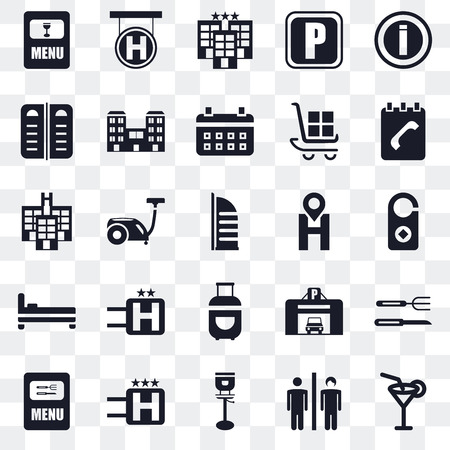 Set Of 25 transparent icons such as Cocktail, Toilet, Stool, Hotel, Menu, Agenda, Location, Luggage, Bed, web UI transparency icon pack