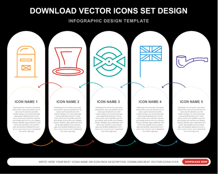 5 vector icons such as Mailbox, Top hat, Goal, Union jack, Pipe for infographic, layout, annual report, pixel perfect icon Illustration