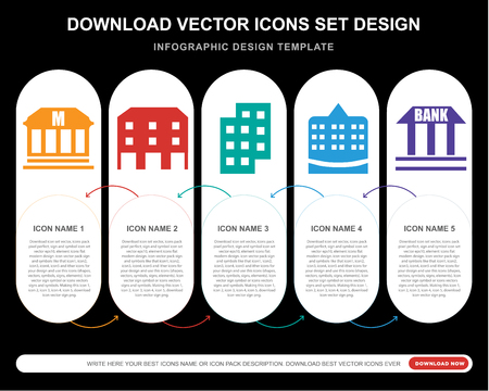 5 vector icons such as Museum, Building, Apartment, Town hall, Bank for infographic, layout, annual report, pixel perfect icon