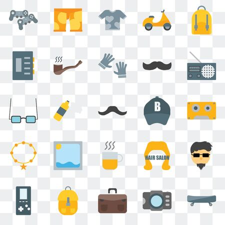 Set Of 25 transparent icons such as Boards, Photograph, Briefcase, Accessory, , Radio, Baseball cap, Hot drinks,  Shirt, Clothing, web UI transparency icon pack