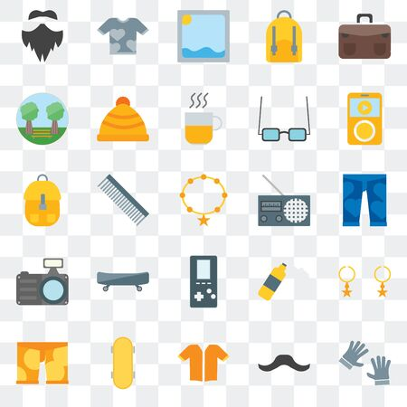 Set Of 25 transparent icons such as Accessory, Hipster, Short sleeves, Skateboard, Clothing,  Radio,  Photo camera, Garden, Picture, Shirt, web UI transparency icon pack Illustration