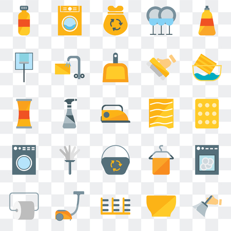 Set Of 25 transparent icons such as Dusting, Bowl, Rack, Vacuum, Toilet paper, Water soak, Drying, Dustpan, Washing machine, Glass cleaning, Garbage, Laundry, web UI transparency icon pack Stock Illustratie