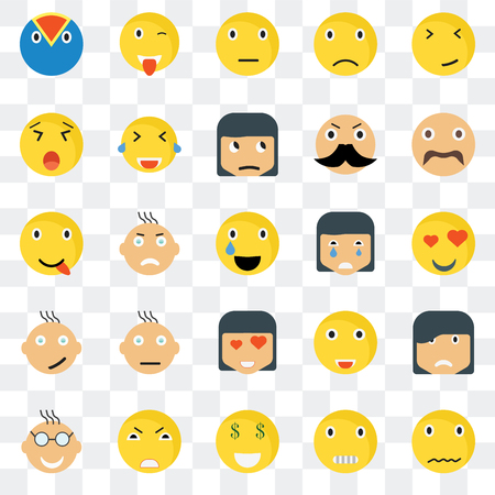 Set Of 25 transparent icons such as Sca smile, In love Hipster Wink Nerd Laughing Happy web UI transparency icon pack, pixel perfect 일러스트