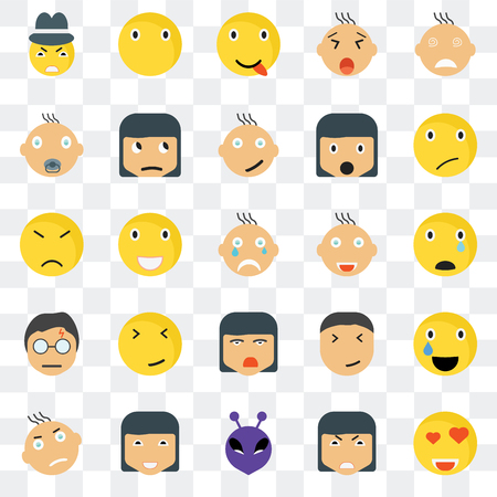 Set Of 25 transparent icons such as In love smile, Sad Sceptic Silent Angry Happy web UI transparency icon pack, pixel perfect