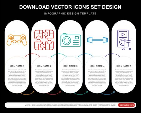 5 vector icons such as Video game, Puzzle, Photo camera, Weight, for infographic, layout, annual report, pixel perfect icon Stock Illustratie