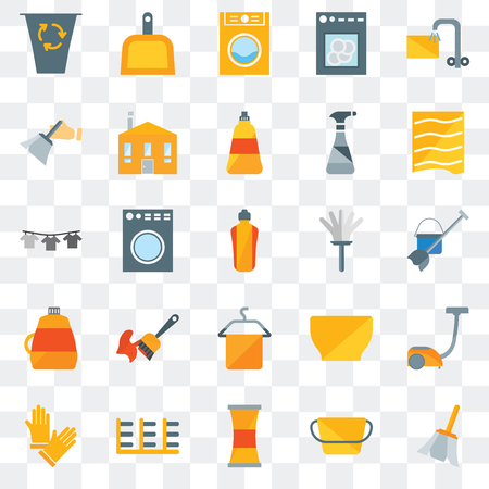 Set Of 25 transparent icons such as Feather, Bucket, Cleaner, Rack, Gloves, Drying, Feather duster, Towel, Softener, Dusting, Laundry, Dustpan, web UI transparency icon pack