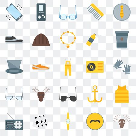 Set Of 25 transparent icons such as Deer, Mustache, Watch, Leisure, Radio, Coffee cup, Turntable, Sunglasses, Accessory, Footwear,  web UI transparency icon pack Stock Illustratie