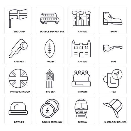 Satz von 16 Symbolen wie U-Bahn, Pfund Sterling, Bowler, Tee, England, Cricket, Vereinigtes Königreich, Schloss, bearbeitbares Symbolpaket für die Web-UI, Pixel Perfect