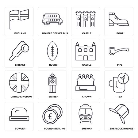 Set Of 16 icons such as  Subway, Pound sterling, Bowler, Tea, England, Cricket, United kingdom, Castle, web UI editable icon pack, pixel perfect