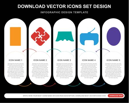5 vector icons such as  Jigsaw, Console, Gamepad, Football pitch for infographic, layout, annual report, pixel perfect icon