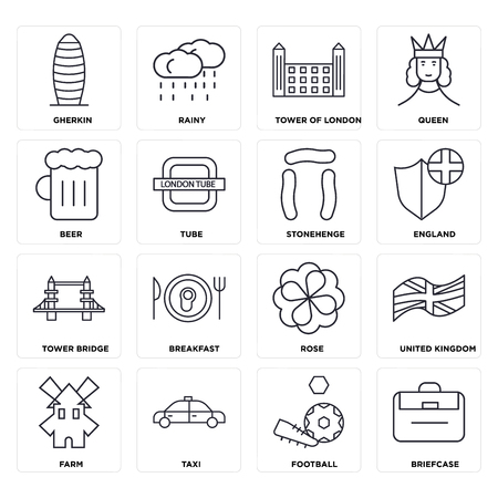 Set Of 16 icons such as Briefcase, Football, Taxi, Farm, United kingdom, Gherkin, Beer, Tower bridge, Stonehenge, web UI editable icon pack, pixel perfect