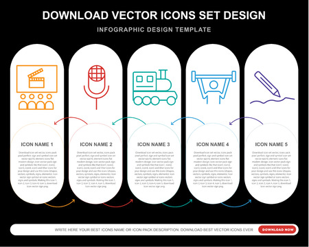 5 vector icons such as Cinema, Karaoke, Toy train, Weightlifting, Writing for infographic, layout, annual report, pixel perfect icon Illusztráció