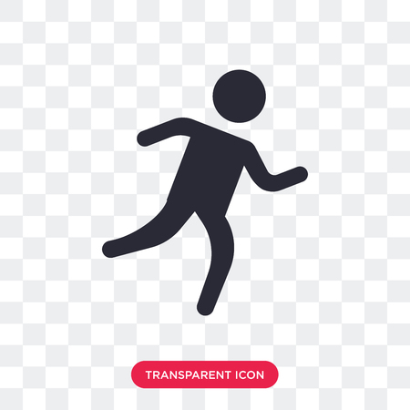 Man running vector icon isolated on transparent background, Man running logo concept