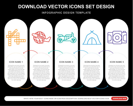 5 vector icons such as Crossword, Travel, Motorcycle, Camping tent, Camera for infographic, layout, annual report, pixel perfect icon 矢量图像