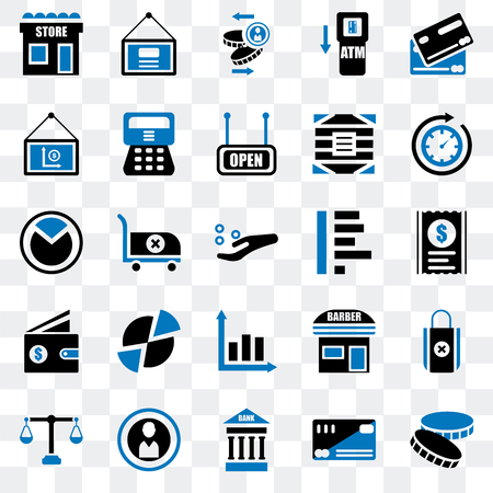 Set Of 25 transparent icons such as Coin, Cit card, Bank, Justice scale, Time passing, Graph, Wallet, Presentation, web UI transparency icon pack