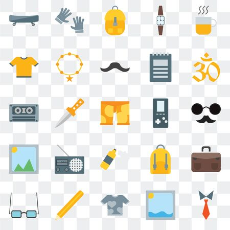Set Of 25 transparent icons such as Tie, Picture, Shirt, Pencil, Accessory, Indian,  Foam, Accessory, web UI transparency icon pack