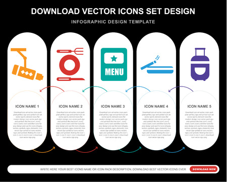 5 vector icons such as Cctv, Restaurant, Menu, Smoking, Luggage for infographic, layout, annual report, pixel perfect icon