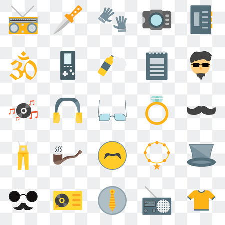 Set Of 25 transparent icons such as Shirt, Radio, Accesory, Turntable, Hipster, Mustache, Dungarees, Indian, Dagger, web UI transparency icon pack Stock Illustratie