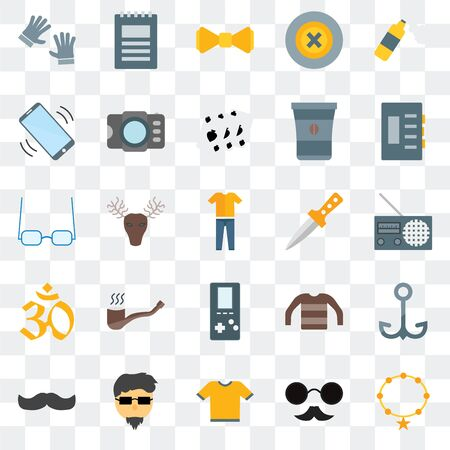 Set Of 25 transparent icons such as Accessory, Hipster, Shirt, Mustache,  Dagger,  Indian, Phone call, Bow tie, Notepad, web UI transparency icon pack Illustration