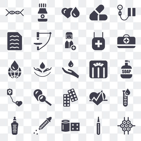 Set Of 25 transparent icons such as Cell, Thermometer, Bandage, Dropper, Feeding bottle, First aid kit, Weighing scale, Drugs, Blood donation, Diagnosis, Blood, Alcohol, web UI transparency icon pack