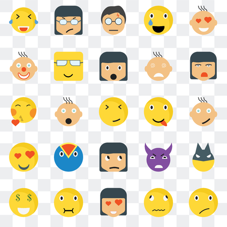 Set Of 25 transparent icons such as Sceptic smile, Happy Ti Angry Rich Nerd Evil Kiss web UI transparency icon pack, pixel perfect