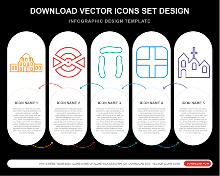 5 vector icons such as Buckingham, Goal, Stonehenge, England, Church for infographic, layout, annual report, pixel perfect icon Illustration