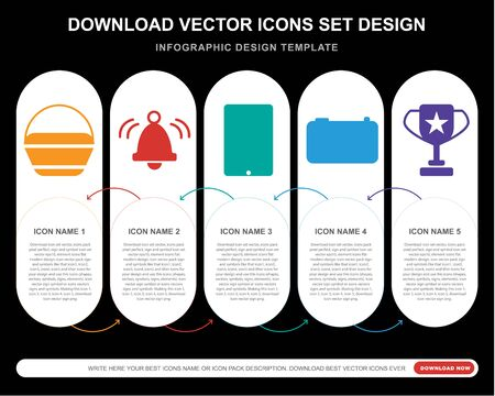 5 vector icons such as Shopping bag, Bell,  Camera, Cup for infographic, layout, annual report, pixel perfect icon