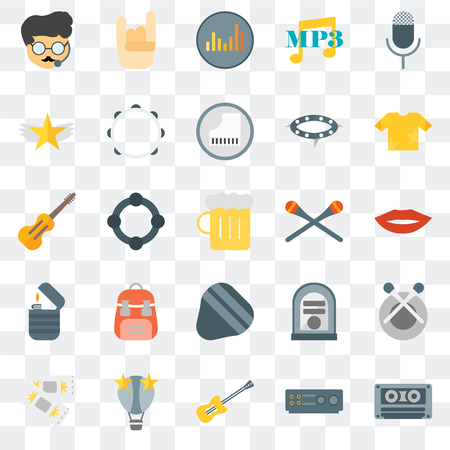 Set Of 25 transparent icons such as Cassette tape, Amplifier, Guitar, Hot air balloon, Ticket, Shirt, Drumsticks, Guitar pick, Lighter, Star, Equalizer, Maloik, web UI transparency icon pack