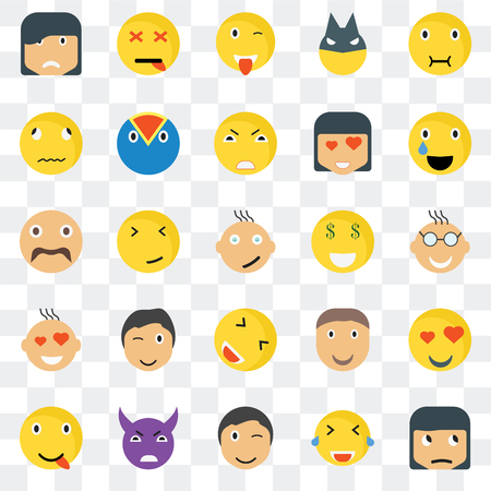 Set Of 25 transparent icons such as Sceptic smile, Nerd Relieved Dead Happy Superhero Joyful Hipster web UI transparency icon pack, pixel perfect