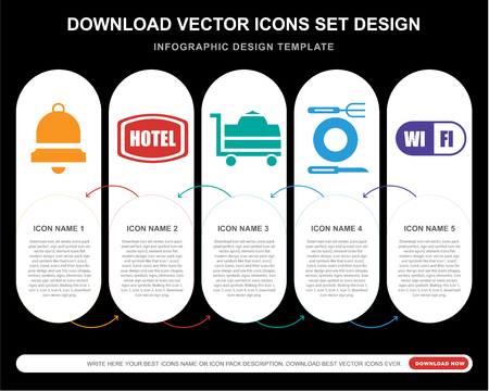 5 vector icons such as Bell, Hotel, Room service, Restaurant, Wifi for infographic, layout, annual report, pixel perfect icon