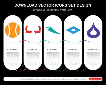 5 vector icons such as Tennis Sport ball, Biceps of a man, Hot chilli pepper, Rhombus, Fire flame for infographic, layout, annual report, pixel perfect icon