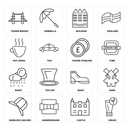 Set Of 16 icons such as Cream, Castle, Underground,  Farm, Tower bridge, Hot drink, Rainy, Pound sterling, web UI editable icon pack, pixel perfect Illustration