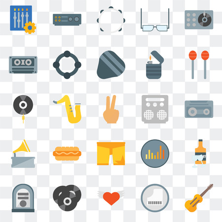 Set Of 25 transparent icons such as Cello, Piano, Wing, Vinyl, Jukebox, Maracas, Amplifier, Shorts, Gramophone, Cassette tape, Tambourine, web UI transparency icon pack
