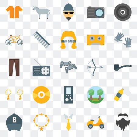 Set Of 25 transparent icons such as Hipster, , Tie, Accessory, Baseball cap, Archery,  Accessory, Bicycle, Horn, web UI transparency icon pack