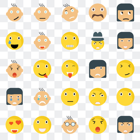 Set Of 25 transparent icons such as Angry smile, Faint Happy Confused In love Joyful Yawning web UI transparency icon pack, pixel perfect