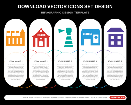 5 vector icons such as Customs, Theater, Lighthouse, Clothes, House for infographic, layout, annual report, pixel perfect icon