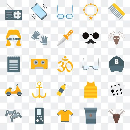 Set Of 25 transparent icons such as Hunted, Coffee cup, Shirt,  Gamepad, Deer, Accessory, Foam,  Hair salon, Sunglasses, Phone call, web UI transparency icon pack 矢量图像