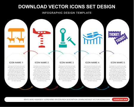 5 vector icons such as Merry go round, Ride, Hammer, Roller coaster, Tickets for infographic, layout, annual report, pixel perfect icon Illustration