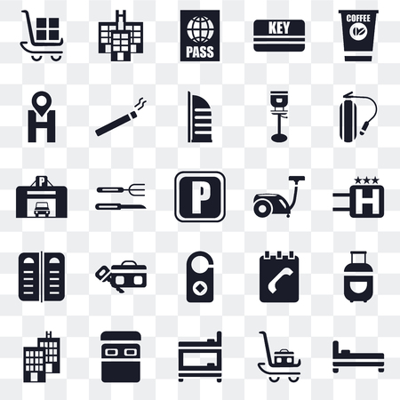 Set Of 25 transparent icons such as Bed, Luggage, Bunk, Hotel, Fire extinguisher, Vacuum cleaner, Doorknob, Menu, Location, Passport, web UI transparency icon pack