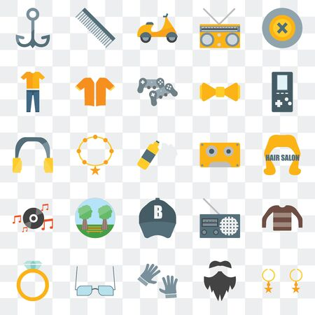 Set Of 25 transparent icons such as Accessory, Hipster, Accesory, Eyeglasses,  Music player, Baseball cap, Long play, Clothing,  Comb, web UI transparency icon pack