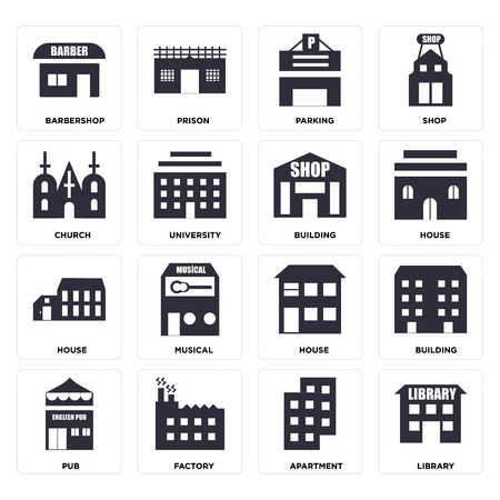 Set Of 16 icons such as Library, Apartment, Factory, Pub, Building, Barbershop, Church, House, web UI editable icon pack, pixel perfect