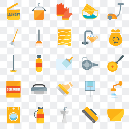 Set Of 25 transparent icons such as Bowl, Brush, Sink, Detergent, Laundry, Garbage, Blower, Broom, Gloves, Towel, web UI transparency icon pack