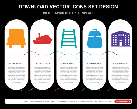 5 vector icons such as Bus, Yatch, Railway, Backpack, Hotel for infographic, layout, annual report, pixel perfect icon