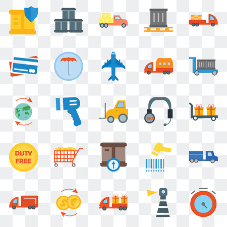 Set Of 25 transparent icons such as Chronometer, Delivery, Package, Moving truck, Umbrella, Barcode scanner, Worldwide, web UI transparency icon pack, pixel perfect