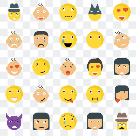Set Of 25 transparent icons such as Gentleman smile, Angry Joyful Evil Crying Sick Love web UI transparency icon pack, pixel perfect