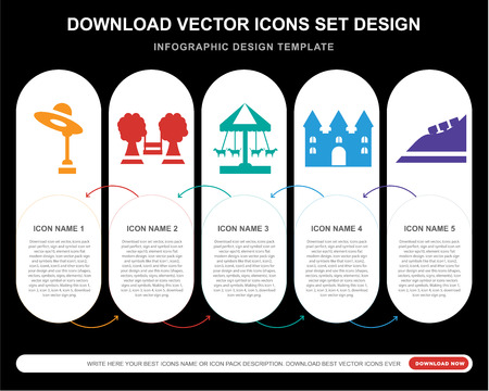 5 vector icons such as Amusement park, Playground, Ride, Bouncy castle, Roller coaster for infographic, layout, annual report, pixel perfect icon Illustration